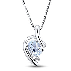 Fashion Sterling Silver Platinum-Plated with Aquamarine and Diamonds Women's Pendant with Silver Box Chain