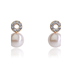 Kolczyki na sztyft Kolczyki koła Modny luksusowa biżuteria Perłowy Kryształ Kryształ górski Posrebrzany Pozłacane Circle ShapeSilver