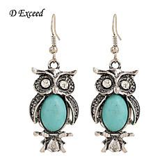 D Exceed Antique Silver Plated Owl Earrings Zinc Alloy Turquoise Stone Rhinestone Dangle &chandelier Women Earring