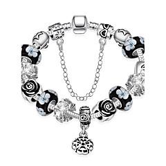 Classic Women's Plum Blossom Stoving Varnish Rhinestones Glass Silver Plated Tin Alloy Charm Bracelet(Multicolor)(1Pc)