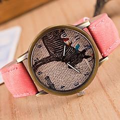 Heren Dames Uniseks Modieus horloge Kwarts Leer Band Vintage Zwart Wit Blauw Rood Bruin Groen Grijs Roze GeelRood Groen Blauw Roze Donker