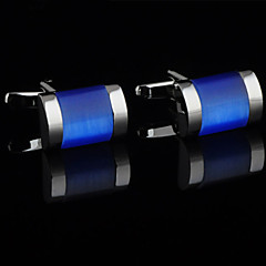 Fashion Copper Men Jewelry Silver Plated Blue Stone Delicate Button Cufflinks(1Pair)