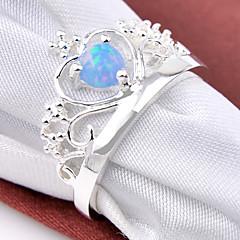 fantastisk ferie gave brand runde brand blå opal perle 925 sølv erklæring krone ringe til bryllupsfest daglig 1pc
