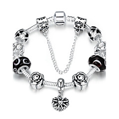 Vintage Elegant Women's Rhinestones Glass Silver Plated Tin Alloy Charm Bracelet(Multicolor)(1Pc)