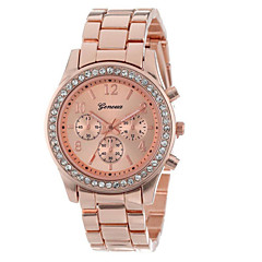 Korean Style Round Shape Alloy Geneva Bracelet Watch(Silver,Rose Gold,Gold)(1Pc) Wrist Watch Cool Watch Unique Watch