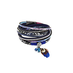 Fashion Women Stone Set With Feather Multi Row Magnet Buckle Leather Wrap Bracelet