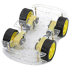 Dual-layer 4-Motor Smart Car Chassis w/ Speed Measuring Coded Disc - Black + Yellow
