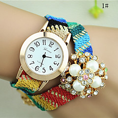 Ladies' New Fashion Ethnic Woven Rhinestone Pearl Bracelet Watch