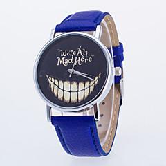 Mujer Reloj de Moda Cuarzo PU Banda Reloj con palabras Negro Blanco Azul Rojo Marrón Blanco Negro Marrón Rojo Azul