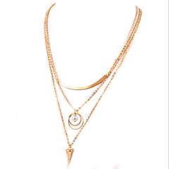Lureme®  European Style Fashion Paillette Pearl Triangle Multilayer Alloy Necklace