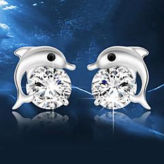 Κουμπωτά Σκουλαρίκια Κρυστάλλινο Ασήμι Στερλίνας Κρύσταλλο Μοντέρνα Ασημί Κοσμήματα Γάμου Πάρτι Καθημερινά 2pcs