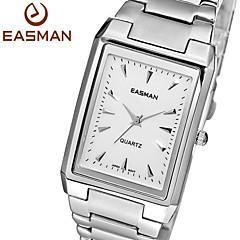 marca easman 2015 nueva moda hombres originales del reloj de negocio de acero sólido rectángulo de plata de los hombres reloj de pulsera