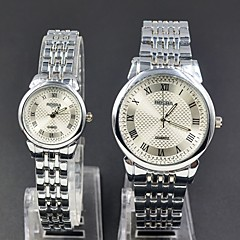 Fashion Casual  man woman couples Lovers' Arabic numeral style dial silver gold steel metal strap quartz Wrist Watch