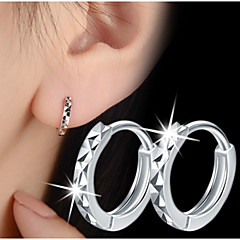 S925 Fine Silver Hoop Stud Earrings,Unisex