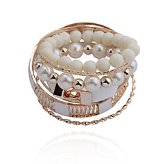 Fashion  Bead Pear Double Lock Tophus  Alloy Bracelet(6 Pairs Per Set)