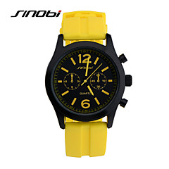 SINOBI® Brand Watches Men Quartz Watch Teenage Boys Yellow Silicone Casual Sports Watches Males Waterproofes Wrist Watch Cool Watch Unique Watch