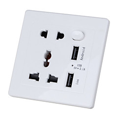 벽 전원 소켓 다기능 충전기 어댑터 듀얼 USB 슬롯 (90-250v) 흰색