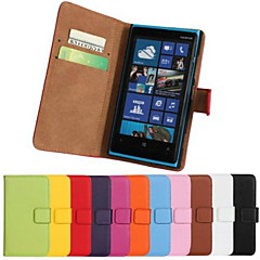 Solid Color Pattern Genuine Leather Full Body Case with Stand and Card Slot for Nokia Lumia 920