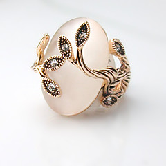 Women's Elegant luxury Exaggerated Style Alloy Diamond Leaf Love with Opal Ring 01