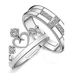 Alliances Mariage / Soirée / Quotidien Bijoux Argent sterling Femme / Hommes / Couple Couple de Bagues 2pcs,Ajustable Argent