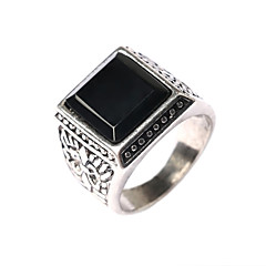 Men's Retro Rthnic Style Carved Turquoise Inlay Alloy Ring A