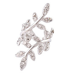 Woman's Silver Plated Metal Leaves Crystal Zirconia Single Clip Earrings Wedding / Party / Daily / Casual 1pc