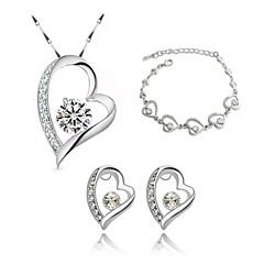 Jewelry Set Elegant Crystal Heart Pendant Necklace Earrings Braclet Girlfriend Gift