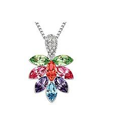 Women Necklace ELegant Crystal Flower Tree Pendant Necklace