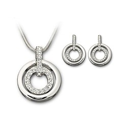 Jewelry Set Classic Elegant Crystal Unique Design Circles Pendant Necklace Earrings Girlfriend Gift