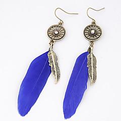 Women Fashion Metal Elegant Feather Retro Personality Dangle Eardrop Drop Earrings