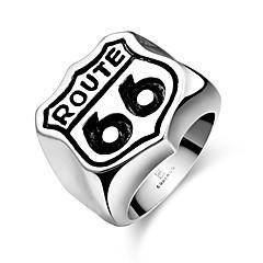 doble simple anillo barniz de secado al horno no de los hombres de piedra decorativa de la moda de seis acero inoxidable (negro) (1