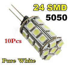 10XG4 3W 24x5050SMD Warm White/White Light LED Corn Bulb (DC 12V)