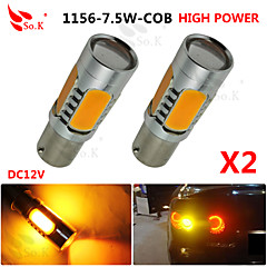 2X yellow High Power BAU15S 1156PY 7.5W Tail Brake Signal LED Light bulbs 7507