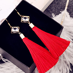Four rectangular gold earrings double diamond tassel earrings female