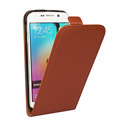For Samsung Galaxy etui Flip Etui Heldækkende Etui Helfarve Ægte læder for Samsung S6 edge plus S6 edge S6 S5 S4 S3