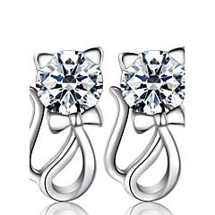 Damskie Kolczyki na sztyft sztuczna Diament Modny luksusowa biżuteria biżuteria kostiumowa Perłowy Srebro standardowe Imitacja diamentu