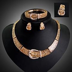 Lucky Doll Women's Vintage 18K Gold Plated Rhinestone Tassel Necklace & Earrings & Bracelet & Ring Jewelry Sets
