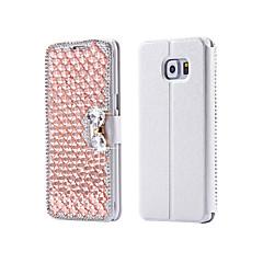 For Samsung Galaxy etui Kortholder Rhinsten Med stativ Flip Etui Heldækkende Etui Glitterskin Kunstlæder for SamsungS7 S6 edge plus S6