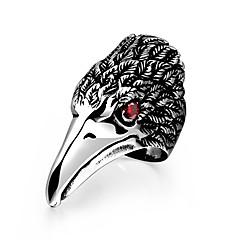sjenerøse enkelte menns rød cubic zirkonia leder av ørn rustfritt stål ring (svart) (1 stk)
