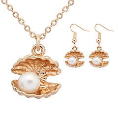 Women European Style Fashion Cute Shell Holding Pearl Imitation Pearl Necklace / Earrings Sets