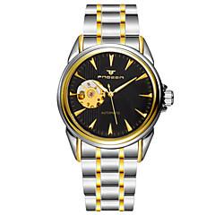 Herren Kleideruhr Automatikaufzug Wasserdicht Legierung Band Armbanduhr Silber