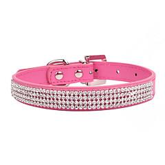 Katter / Hundar Halsband Rock / Justerbara/Infällbar / Bergkristall Röd / Svart / Blå / Rosa PU Läder