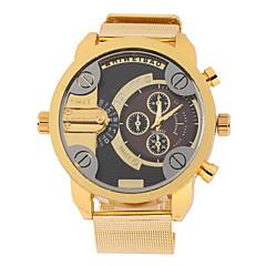 Men's Military Fashion Dual Time Zones Gold Steel Band Quartz Watch Wrist Watch Cool Watch Unique Watch