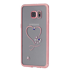 For Samsung Galaxy S7 Edge Rhinsten Belægning Transparent Mønster Etui Bagcover Etui Hjerte TPU for SamsungS7 edge S7 S6 edge plus S6
