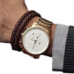 Hommes Bracelet Montre Quartz Calendrier Acier Inoxydable Bande Noir / Doré Marque-