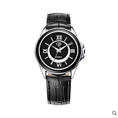 Men's Golden White Black Case Brown Leather Band Wrist Dress Watch Jewelry for Unisex Wrist Watch Cool Watch Unique Watch