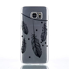 Black Feather Patterned Transparent TPU  Phone Case for Samsung S7/S7 edge/S4/S4Mini/S6/S6edge/S6 edge plus