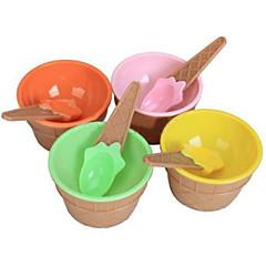 χαριτωμένο μπολ κρέμα παιδιά πάγο με οριστεί δοχείο κουτάλι φιλικό προς το περιβάλλον επιδόρπιο πλαστικά σκεύη κύπελλο
