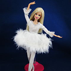 Charming White Ballet Dress with Pantihose for Barbie Doll
