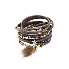 Fashion Trendy 4 Rows Crystal Set /BeadsBracelet/Star/ Fur Charm Leather Wrap Bracelet